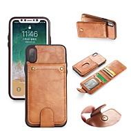 Недорогие Кейсы для iPhone 8 Plus-Кейс для Назначение Apple iPhone X / iPhone 8 Кошелек / Бумажник для карт / со стендом Чехол Однотонный Твердый Кожа PU для iPhone X / iPhone 8 Pluss / iPhone 8