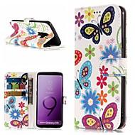 Недорогие Чехлы и кейсы для Galaxy S8-Кейс для Назначение SSamsung Galaxy S9 Plus / S9 Кошелек / Бумажник для карт / со стендом Чехол Бабочка Твердый Кожа PU для S9 / S9 Plus / S8 Plus