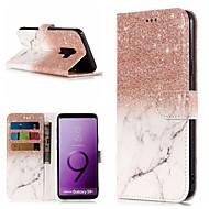 Недорогие Чехлы и кейсы для Galaxy S8-Кейс для Назначение SSamsung Galaxy S9 Plus / S9 Кошелек / Бумажник для карт / со стендом Чехол Мрамор Твердый Кожа PU для S9 / S9 Plus / S8 Plus