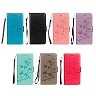 Недорогие Чехлы и кейсы для Galaxy S9 Plus-Кейс для Назначение SSamsung Galaxy S9 / S8 Кошелек / Бумажник для карт / со стендом Чехол Бабочка / Цветы Твердый Кожа PU для S9 / S9 Plus / S8 Plus