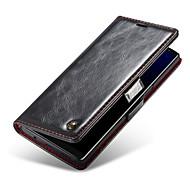 Недорогие Чехлы и кейсы для Galaxy Note-Кейс для Назначение SSamsung Galaxy Note 9 Кошелек / Бумажник для карт / со стендом Чехол Однотонный Твердый Настоящая кожа для Note 9