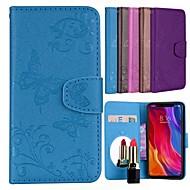 お買い得  携帯電話ケース-ケース 用途 Xiaomi Mi Note 3 カードホルダー / スタンド付き / パターン フルボディーケース バタフライ / フラワー ハード PUレザー のために Xiaomi Redmi Note 3