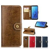 Недорогие Чехлы и кейсы для Galaxy S7 Edge-Кейс для Назначение SSamsung Galaxy S9 Plus / S8 Plus Кошелек / Бумажник для карт / со стендом Чехол Однотонный Твердый Кожа PU для S9 / S9 Plus / S8 Plus
