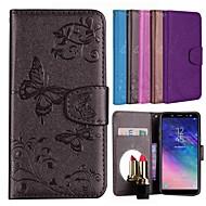Недорогие Чехлы и кейсы для Galaxy А-Кейс для Назначение SSamsung Galaxy A6 (2018) Бумажник для карт / со стендом / С узором Чехол Бабочка / Цветы Твердый Кожа PU для A6 (2018) / Huawei Y6 (2018)