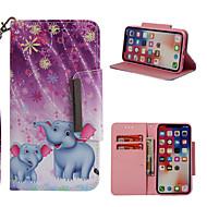 Недорогие Кейсы для iPhone 8 Plus-Кейс для Назначение Apple iPhone X / iPhone 8 Plus Кошелек / Бумажник для карт / со стендом Чехол Слон Твердый Кожа PU для iPhone X / iPhone 8 Pluss / iPhone 8
