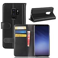 Недорогие Чехлы и кейсы для Galaxy S9 Plus-Кейс для Назначение SSamsung Galaxy S9 / S8 Кошелек / Бумажник для карт / Флип Чехол Однотонный Твердый Настоящая кожа для S9 / S9 Plus / S8 Plus
