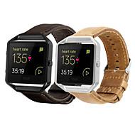 Horlogeband voor Fitbit Blaze Fitbit Leren lus Echt leer Polsband