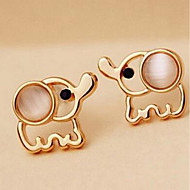 cheap -Women's Opal Hollow Out Stud Earrings - Elephant Simple Gold For Daily