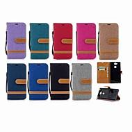 お買い得  携帯電話ケース-ケース 用途 Sony Xperia XA2 Ultra / Xperia L2 ウォレット / カードホルダー / スタンド付き フルボディーケース ソリッド ハード 繊維 のために Xperia XZ1 Compact / Sony Xperia XZ1 / Sony Xperia XZ Premium
