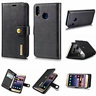 お買い得  -ケース 用途 Huawei P20 / P20 Pro ウォレット / カードホルダー / スタンド付き フルボディーケース ソリッド ハード 本革 のために Huawei P20 / Huawei P20 Pro / Huawei P20 lite