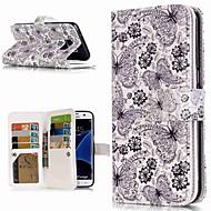 Недорогие Чехлы и кейсы для Galaxy S8-Кейс для Назначение SSamsung Galaxy S9 Plus / S8 Кошелек / Бумажник для карт / со стендом Чехол Бабочка Твердый Кожа PU для S9 / S9 Plus / S8 Plus