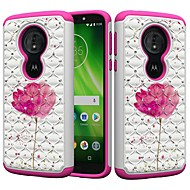 お買い得  携帯電話ケース-ケース 用途 Motorola MOTO G6 / Moto G6 Play 耐衝撃 / ラインストーン / パターン バックカバー ラインストーン / フラワー ハード PC のために MOTO G6 / Moto G6 Play / Moto E5 Play