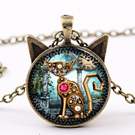 Women's Vintage Style Pendant Necklace / Vintage Necklace - Cat Classic, Colorful, Steampunk Cool Brown, Black, Silver 50+5 cm Necklace Jewelry 1pc For Carnival, Street