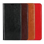 Недорогие Чехлы и кейсы для Galaxy S6 Edge Plus-Кейс для Назначение SSamsung Galaxy S9 Plus / S8 Plus Кошелек / Бумажник для карт / со стендом Чехол Однотонный Твердый Настоящая кожа для S9 / S9 Plus / S8 Plus