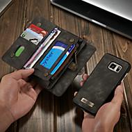 Недорогие Аксессуары для Samsung-CaseMe Кейс для Назначение SSamsung Galaxy S7 Кошелек / Бумажник для карт / со стендом Чехол Однотонный Твердый Кожа PU для S7