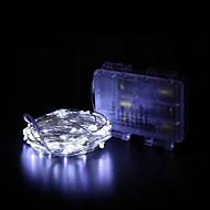 billige -BRELONG® 10 m Lysslynger 100 lysdioder SMD 0603 Varm hvid / RGB / Hvid Vandtæt / Fest / Dekorativ AA Batterier Powered 1pc