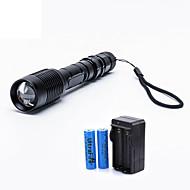 preiswerte Taschenlampen, Laternen & Lichter-UltraFire LED Taschenlampen LED LED 2000 lm 5 Beleuchtungsmodus inklusive Batterien und Ladegerät Zoomable-, einstellbarer Fokus Camping / Wandern / Erkundungen, Für den täglichen Einsatz, Reisen