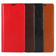 Недорогие Чехлы и кейсы для Galaxy Note-Кейс для Назначение SSamsung Galaxy Note 9 / Note 8 Кошелек / Бумажник для карт / со стендом Чехол Однотонный Твердый Настоящая кожа для Note 9 / Note 8 / Note 5