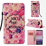 Недорогие Чехлы и кейсы для Galaxy Note 8-Кейс для Назначение SSamsung Galaxy Note 8 Кошелек / Бумажник для карт / Флип Чехол Цветы Твердый Кожа PU для Note 8