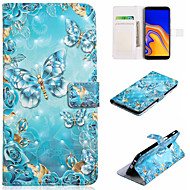 Maska Pentru Samsung Galaxy J7 (2017) / J5 (2017) Portofel / Titluar Card / Cu Stand Carcasă Telefon Fluture Greu PU piele pentru J7 (2017) / J7 (2016) / J6 (2018)