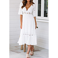 cheap -Women's Beach Flare Sleeve Swing Dress - Solid Colored V Neck Summer White M L XL / Sexy