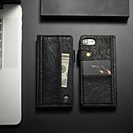 Недорогие Кейсы для iPhone 8-CaseMe Кейс для Назначение Apple iPhone 8 / iPhone 7 Бумажник для карт / Защита от удара / со стендом Чехол Однотонный Твердый Кожа PU для iPhone 8 / iPhone 7