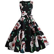 Women's Party Birthday Basic Slim Sheath Dress - Geometric Spring Cotton Black L XL XXL