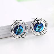 levne -Dámské Kulaté Peckové náušnice - Postříbřené Umělé diamanty Barevná Šperky Stříbrná Pro Svatební Párty Dar 1 Pair