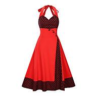 cheap -Women's Daily Slim A Line Dress - Polka Dot Color Block Print Halter Neck Black Red XXL XXXL XXXXL