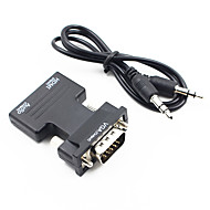 お買い得  -HDMI 1.4 アダプターケーブル, HDMI 1.4 に VGA / 3.5mmオーディオ アダプターケーブル オス―メス 1080P ショート(20cm以下)