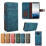 Недорогие Чехлы и кейсы для Galaxy Note 8-Кейс для Назначение SSamsung Galaxy Note 9 / Note 8 Кошелек / Бумажник для карт / Защита от удара Чехол Однотонный Твердый Настоящая кожа для Note 9 / Note 8