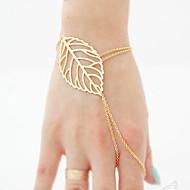 hesapli -Kadın's Derin Yüzük Bileklikler - Leaf Shape Şık, Basit, Avrupa Bilezikler Mücevher Altın / Gümüş Uyumluluk Günlük