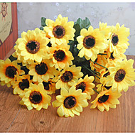 זול -פרחים מלאכותיים 3 ענף קלאסי כפרי / פרחי חתונה חמניות פרחים לשולחן
