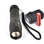 お買い得  フラッシュライト/ランタン/ライト-UltraFire W-878 LED懐中電灯 LED LED 1 エミッタ 1800 lm 5 照明モード バッテリー&チャージャー付き 滑り止めグリップ キャンプ / ハイキング / ケイビング, 日常使用, サイクリング ブラック
