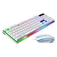 baratos -Cabo Combinação de teclado de mouse Cores Gradiente Carregamento Automático teclado mecânico Mouse para Jogos 1600 dpi 3 pcs