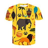 cheap -Men's Street chic / Punk & Gothic T-shirt - Color Block / Animal Lion, Print