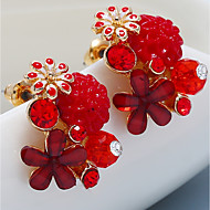 cheap -1 Pair Women's Fancy Stud Earrings - Resin Gold Plated Flower Boho Colorful Jewelry Purple / Red / Green For Wedding Going out Bikini