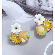cheap -1 Pair Women's Tropical Stud Earrings - Resin Flower Tropical Jewelry Yellow For Daily Street Going out