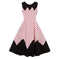 cheap -Women's Plus Size Daily Elegant A Line Dress - Polka Dot Print White Red XXL XXXL XXXXL / Sexy