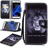 Недорогие Чехлы и кейсы для Galaxy S7-Кейс для Назначение SSamsung Galaxy S7 Кошелек / Бумажник для карт / Защита от удара Чехол Лев Твердый Кожа PU для S7