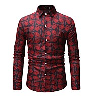 cheap -Men's Basic Shirt - Geometric / Color Block Print