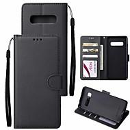 ราคาถูก -Case สำหรับ Samsung Galaxy Galaxy S10 / Galaxy S10 Plus Wallet / Card Holder / with Stand ตัวกระเป๋าเต็ม สีพื้น Hard หนัง PU สำหรับ S9 / S9 Plus / S8 Plus