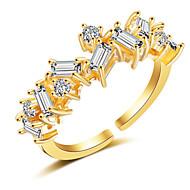 levne -Dámské Kubický zirkon Otevřete kruh Měď Fashion Ring Šperky Zlatá / Stříbrná / Růžová Pro Svatební Párty Zásnuby Nastavitelný