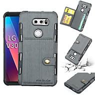 ieftine -Maska Pentru LG V30 Titluar Card / Anti Șoc Capac Spate Mată Moale PU piele pentru LG V30