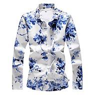 povoljno -Veći konfekcijski brojevi Majica Muškarci Pamuk Cvjetni print Plava