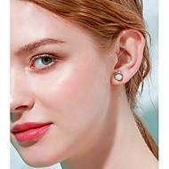 저렴한 -여성용 스터드 귀걸이 펄 S925 스털링 실버 귀걸이 단 패션 보석류 화이트 제품 선물 일상 1 쌍