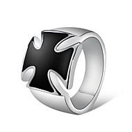 זול -בגדי ריקוד גברים לזוג שחור קריסטל טבעת טבעת החותם מצופה כסף צלב אומנותי עיצוב מיוחד טרנדי Fashion Ring תכשיטים כסף עבור Party רחוב בר 8 / 9 / 10 / 11