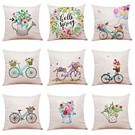 cheap -9 pcs Linen Pillow Cover, Special Design Sports and Outdoors Floral Print Casual / Daily European