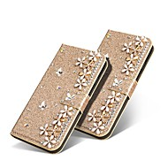 cheap -Case For Samsung Galaxy S9 Plus / S8 Plus Wallet / Card Holder / Rhinestone Full Body Cases Glitter Shine / Rhinestone / Flower Hard PU Leather for S9 / S9 Plus / S8 Plus