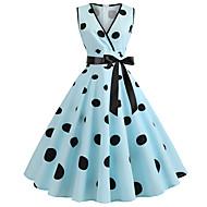 billige -Dame Vintage Swing Kjole - Prikker Farveblok, Trykt mønster Midi